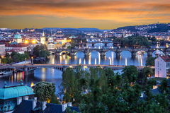 Prague view of the Old Town architecture and Charles brid Royalty Free Stock Image