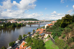 Prague, view over Vltava river Stock Photos