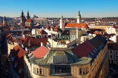 Prague seen from Powder Tower - landmark attraction in Czech Republic. Stock Images