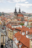 Prague. View from Powder Gate to the Church of Our Lady before T. View from Powder Gate to the Church of Our Lady before Týn. The church's Gothic steeples are Stock Photos