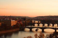 Prague view. Red gloaming. Historical center of Prague. River Vltava and Prague's bridges Royalty Free Stock Photography