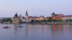 Prague view at sunset, czech republic, 4k stock footage