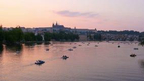 Prague view at sunset, czech republic, 4k stock video