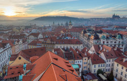 Prague view at sunset, Czechia. Royalty Free Stock Image