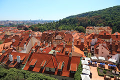 Prague view from top. Cityscape view of old Prague from high view point Royalty Free Stock Photos