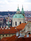 Prague view from top with copper green roof Stock Image