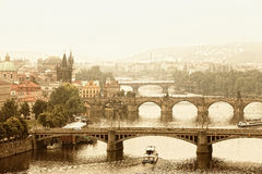 Prague, view of the Vltava River. And bridges in a morning fog Royalty Free Stock Photography