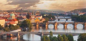 Prague. View of the Vltava River and bridges Royalty Free Stock Photo