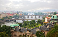 Prague. View of the Vltava River and bridges in a morning fog Stock Image