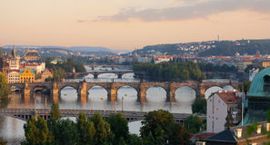 Prague, view of the Vltava River. And bridges in the summer evening Stock Photo
