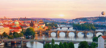 Prague. View of the Vltava River and bridges in the summer evening Stock Photography