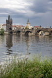 Prague. View from Vltava to the Charles Bridge and the Old Town Stock Images