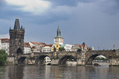 Prague. View from Vltava to the Charles Bridge and the Old Town Stock Photos