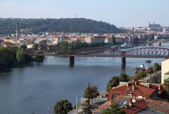 Prague view from Vyshgorod. View from above from Vyshgorod on Vltava river and Prague Royalty Free Stock Image