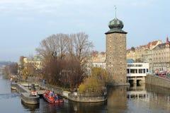 Prague. Views of the City. Embankment of river Vltava in Prague Royalty Free Stock Images