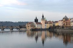 Prague. Views of the City. The Vltava River with a view of the Charles Bridge Stock Images
