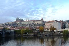 Prague. Views of the City. The Vltava River with a view of the Charles Bridge Royalty Free Stock Photo