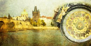 Prague vintage card Royalty Free Stock Image