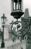 Prague, vintage street light on Charles Bridge Royalty Free Stock Photo