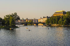 Prague and Vlatava in the evening Royalty Free Stock Image