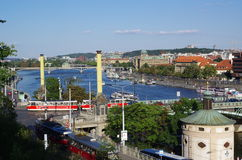 Prague and Vltava  Royalty Free Stock Images