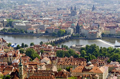 Prague with Vltava and charles bridge Stock Photo
