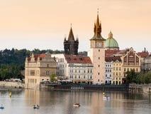 Prague Vltava flod. Arkivfoto