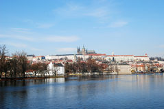 Prague, Vltava river and castle Stock Photos