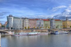Prague, Vltava river,Dancing house, Czech republic stock photography