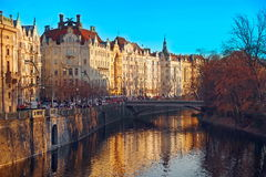 Panorama. Attraction landscape in Prague: Vltava River - Czech Republic Royalty Free Stock Image