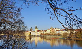 Panorama. Landmark attraction landscape in Prague. Historic Prague with Vltava River - Czech Republic Stock Photography