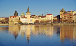 Panorama. Landmark attraction landscape in Prague. Historic Prague with Vltava River - Czech Republic Royalty Free Stock Photo