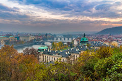 Prague and Vltava river from Letna Hill - Romantic view after misty sunset - European capital of bohemian Czech Republic Royalty Free Stock Photo