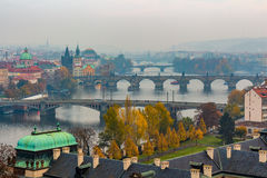 Prague and Vltava river from Letna Hill - Romantic view after misty sunset - European capital of bohemian Czech Republic Royalty Free Stock Photos