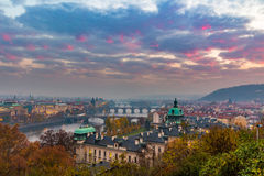 Prague and Vltava river from Letna Hill - Romantic view after misty sunset - European capital of bohemian Czech Republic Stock Image