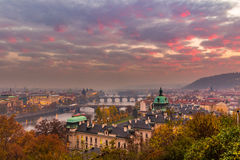 Prague and Vltava river from Letna Hill - Romantic view after misty sunset - European capital of bohemian Czech Republic Stock Photography
