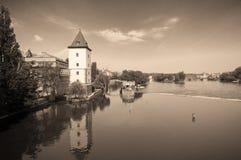 Prague. Vltava river - view from Jirasek bridge Stock Images