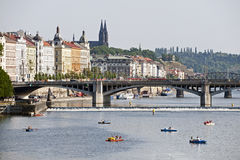 Prague - Vltava River and Vysehrad Stock Photo