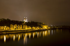 Prague Vysehrad castle at night. With reflections in the river Royalty Free Stock Images