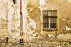 Prague Wall Texture. An old weathered wall abstract in Prage, Czech Republic Stock Photos