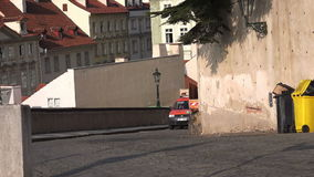 Prague Waste Collection Service Vehicles stock video footage