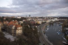 Prague waterfront Royalty Free Stock Photography