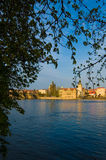 Prague waterfront. Buildings along the riverbank and waterfront of Prague, Czech Republic Stock Photo