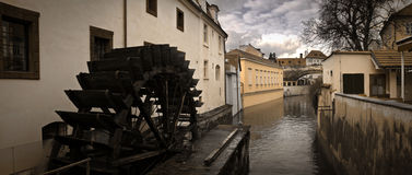 Prague Waterwheel on Certovka Stock Photo