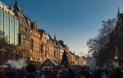 Prague, Wenceslas Square. The day before New year 2017 Václavské náměst Stock Photo