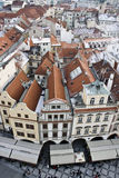 Prague in winter. Fragment of the central part of Prague (capital of Czechia), view from city hall's tower Stock Images