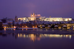 Prague at winter night Royalty Free Stock Photo