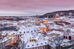Prague in winter time, view on snowy roofs. Stock Photography