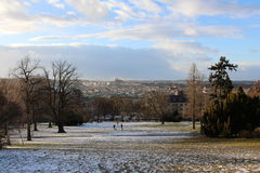 Prague in the winter. The view of Prague city from the Riegerovy sady park stock photography