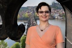 Prague woman tourist portrait Stock Image
